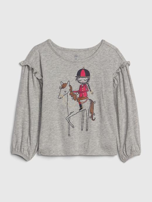 Bebek Gri Baskılı Fırfır Kollu T-Shirt