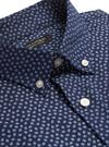 Erkek Lacivert Slim-Fit Tech-Stretch Pamuklu Gömlek