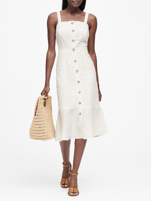 Kadın Beyaz Keten Elbise