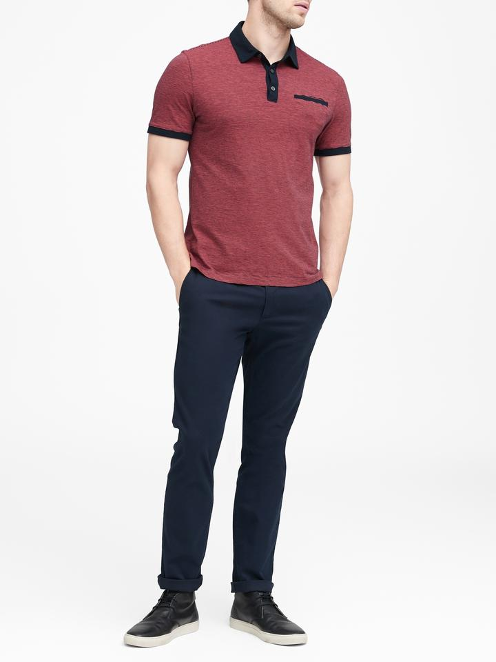 Erkek Lacivert Luxury-Touch Polo T-shirt