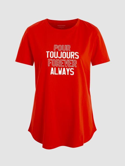 Kadın kırmızı SUPIMA® Pamuklu Grafik T-Shirt