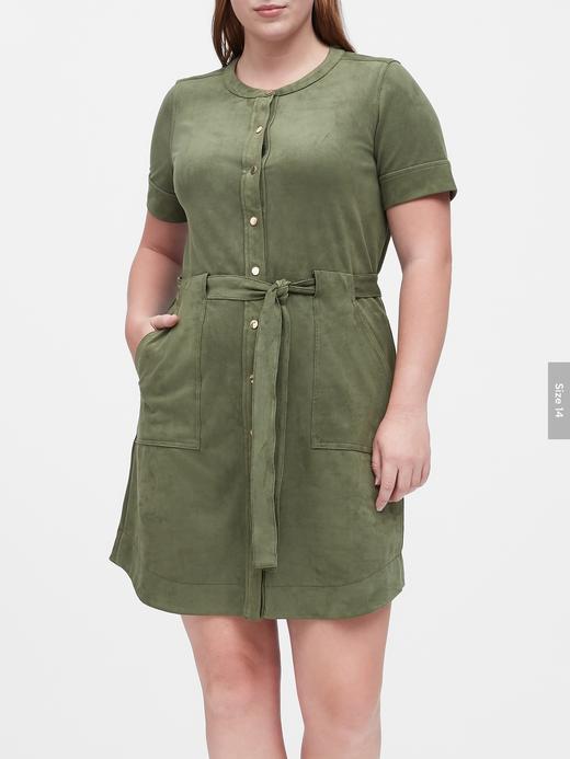 Kadın Yeşil Vegan Süet Elbise