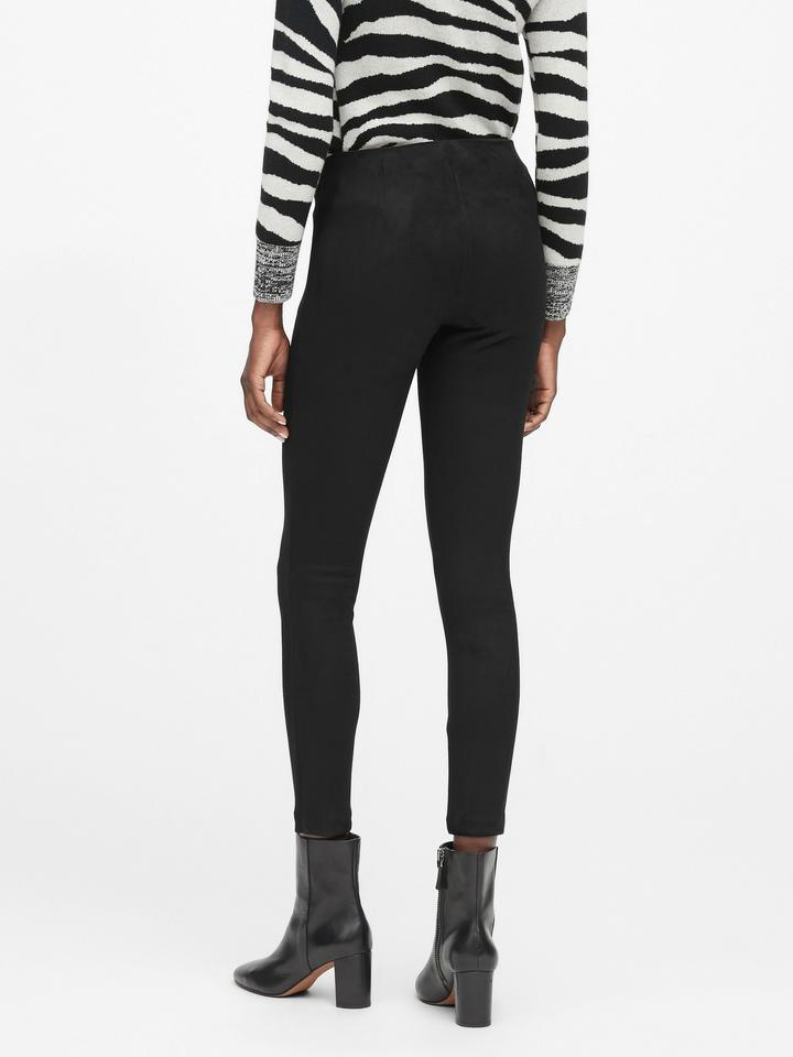 Legging-Fit Vegan Süet Pantolon