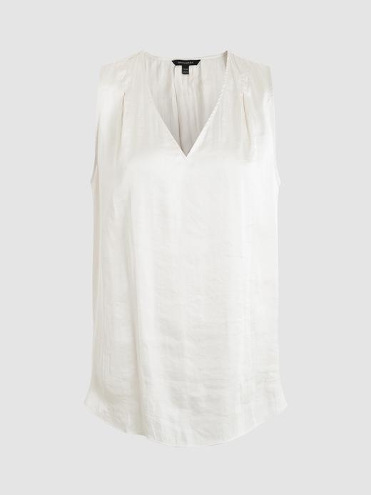 Kadın Beyaz Saten Kolsuz Bluz