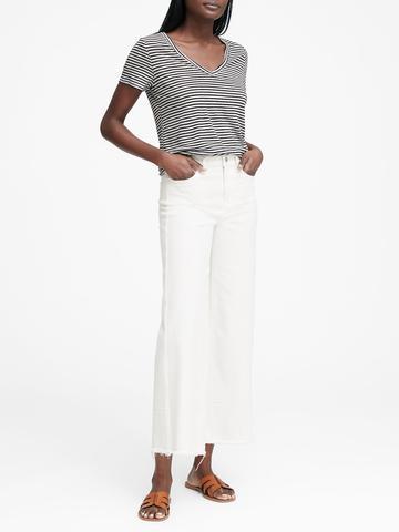 Kadın Beyaz Keten V yaka T-shirt