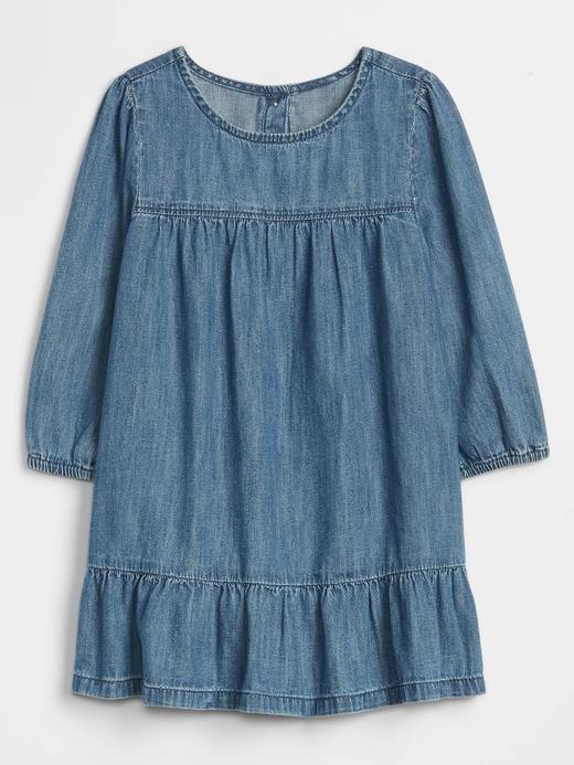 Bebek lacivert Denim Elbise