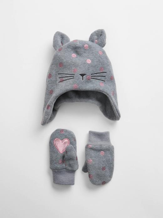 Bebek Gri Kedili Şapka Seti