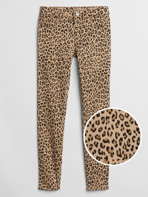 Kız Çocuk Bej Leopar Desenli Streç Pantolon
