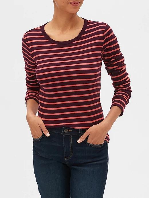 Kadın Kırmızı Çizgili Uzun Kollu T-shirt