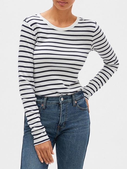 Kadın Beyaz Çizgili Uzun Kollu T-shirt