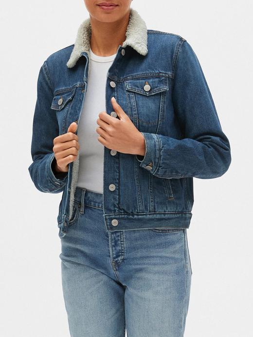 Kadın Mavi Sherpa Astarlı Jean Ceket