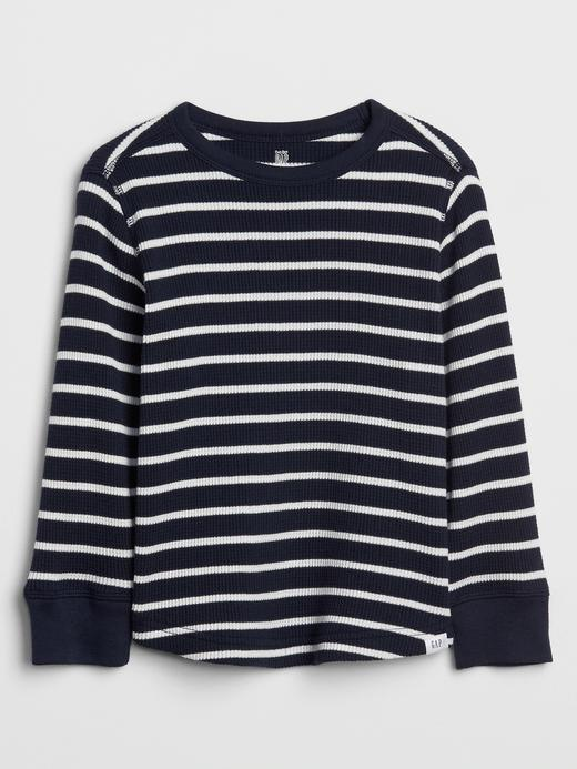 Bebek Lacivert Çizgili Uzun Kollu Termal T-shirt