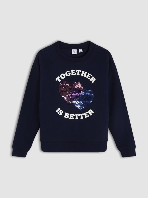 Kız Çocuk Lacivert Baskılı Grafik Sweatshirt