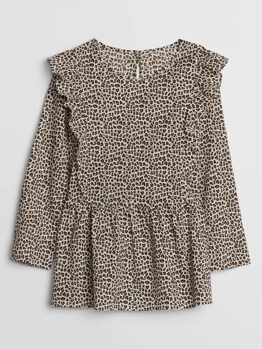 Kız Çocuk Bej Leopar Fırfırlı Bluz