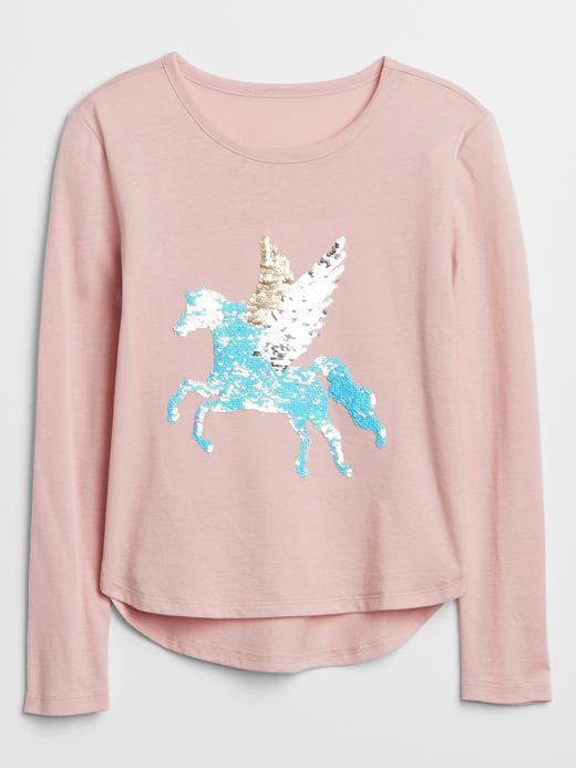 Kız Çocuk Pembe Flippy Pullu T-shirt