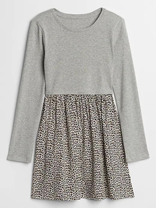 Kız Çocuk Gri Leopar Desenli Fit and Flare Elbise
