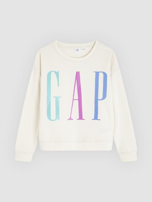 Kız Çocuk Bej Gap Logo Yuvarlak Yaka Sweatshirt