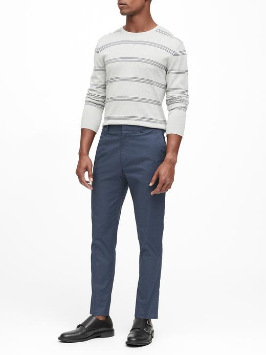 Erkek Lacivert Slim Ütü Gerektirmeyen Pantolon