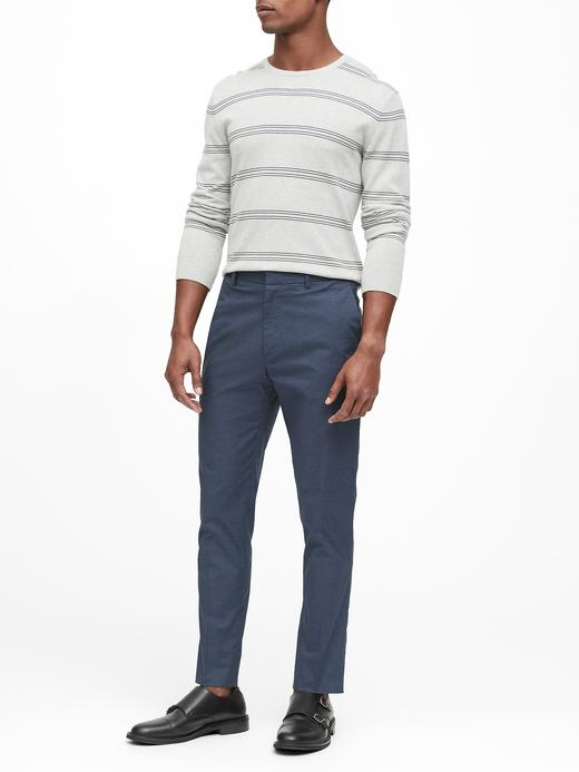 Erkek Gri Slim Ütü Gerektirmeyen Pantolon