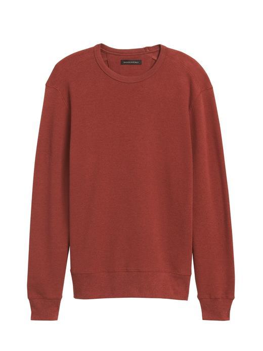 Erkek Kırmızı Waffle-Knit Termal Uzun Kollu T-shirt