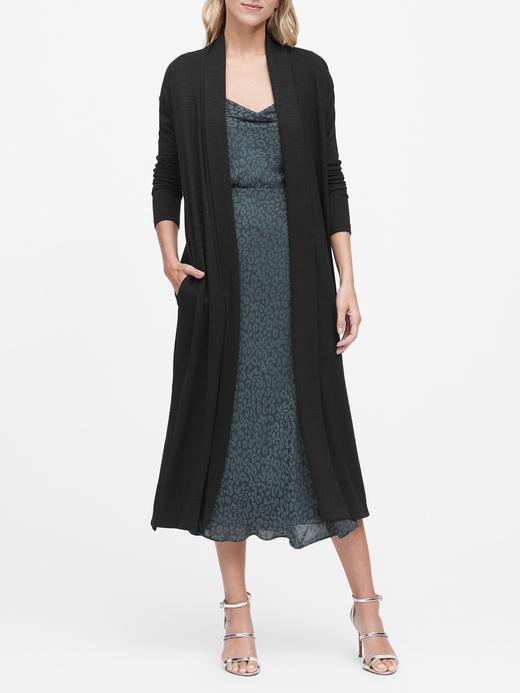 Kadın Siyah Luxespun Uzun Hırka