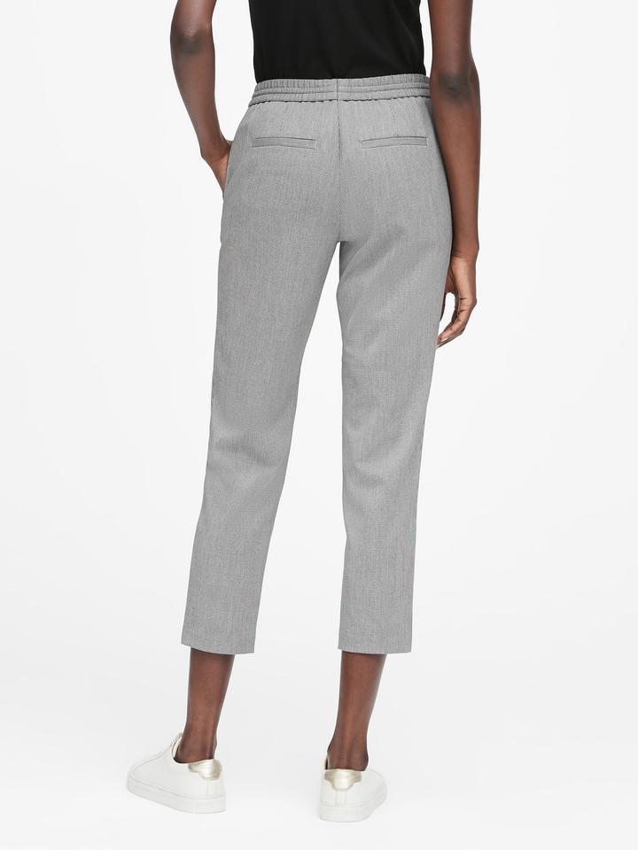 Kadın Beyaz Tapered-Fit Kazayağı Desenlli Ankle Pantolon