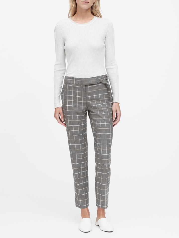 Straight-Fit Ekoseli Pantolon