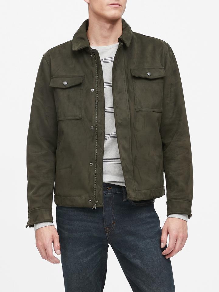 Erkek Yeşil Vegan Süet Ceket