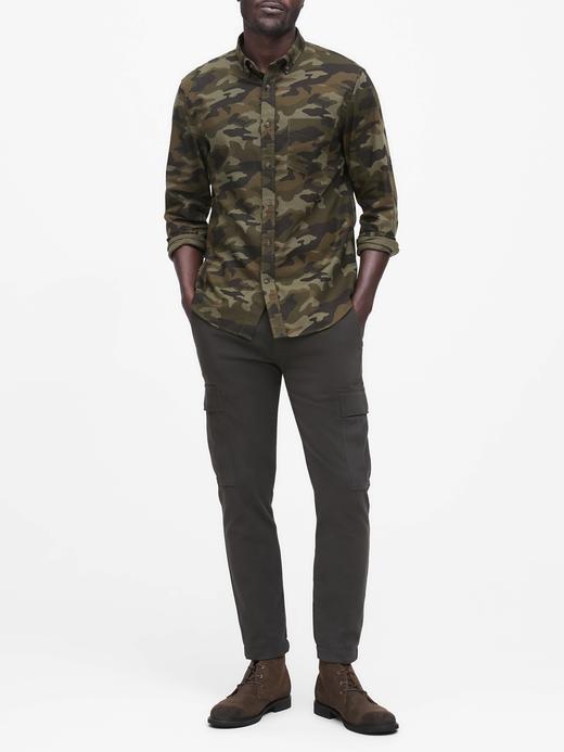 Erkek Yeşil Slim-Fit Flannel Gömlek
