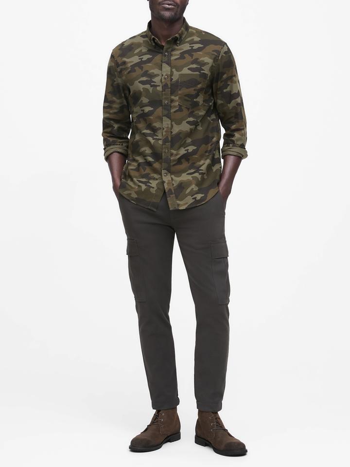 Erkek Lacivert Slim-Fit Flannel Gömlek