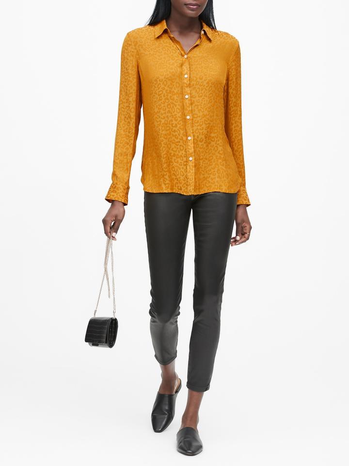 Kadın Sarı Dillon Classic-Fit Leopar Desenli Gömlek