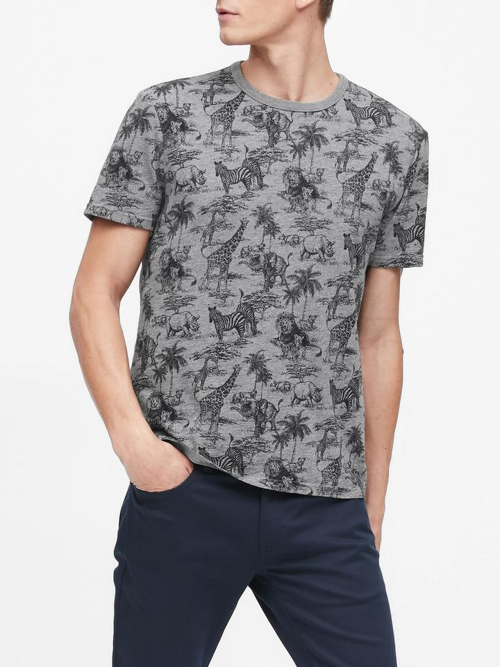 Safari Desenli Graphic T-Shirt