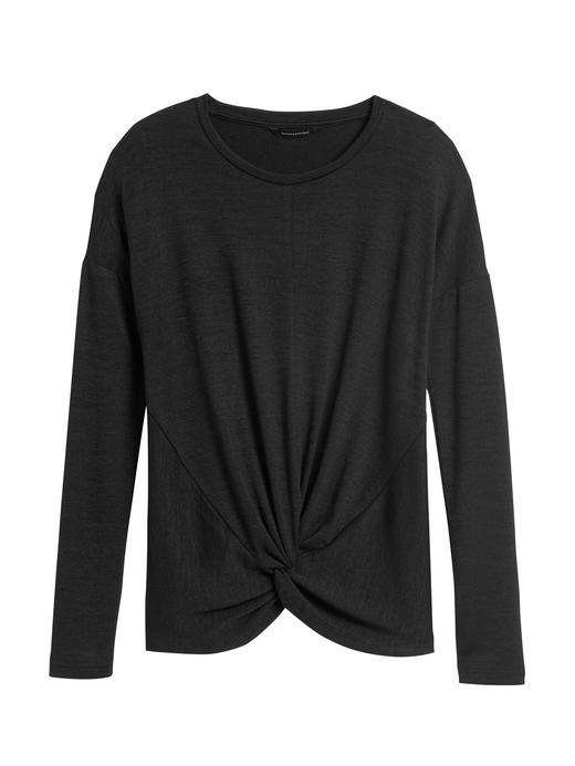 Kadın Siyah Luxespun Bükümlü Uzun Kollu T-Shirt