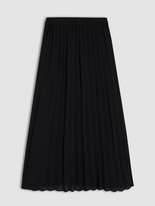 Kadın Siyah Pileli Uzun Etek