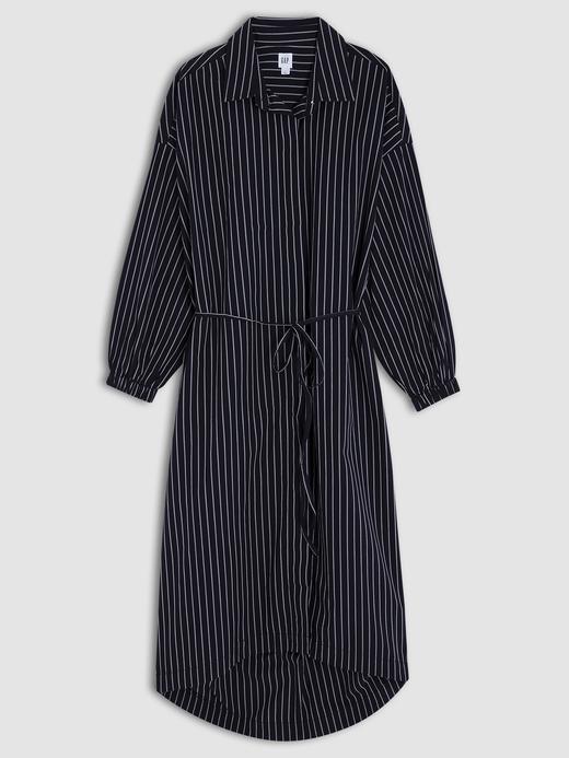 Midi Çizgili Gömlek Elbise