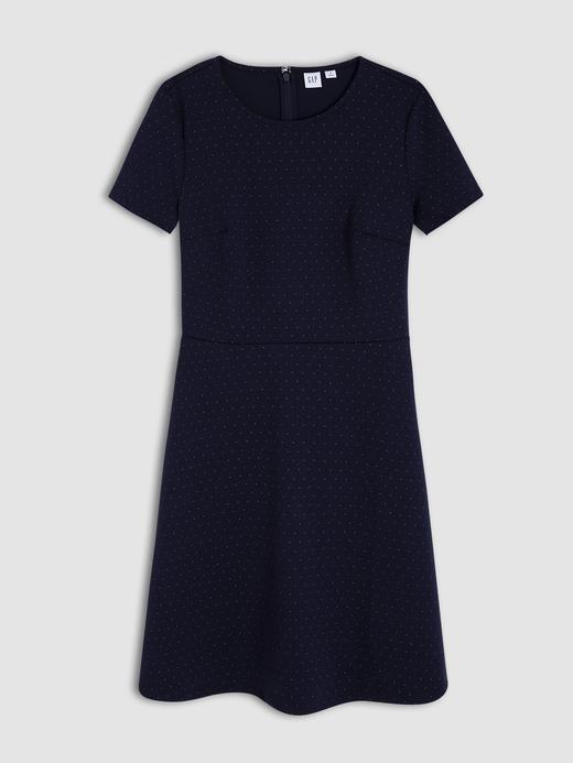 Kadın Lacivert Fit&Flare Puantiye Desenli Elbise