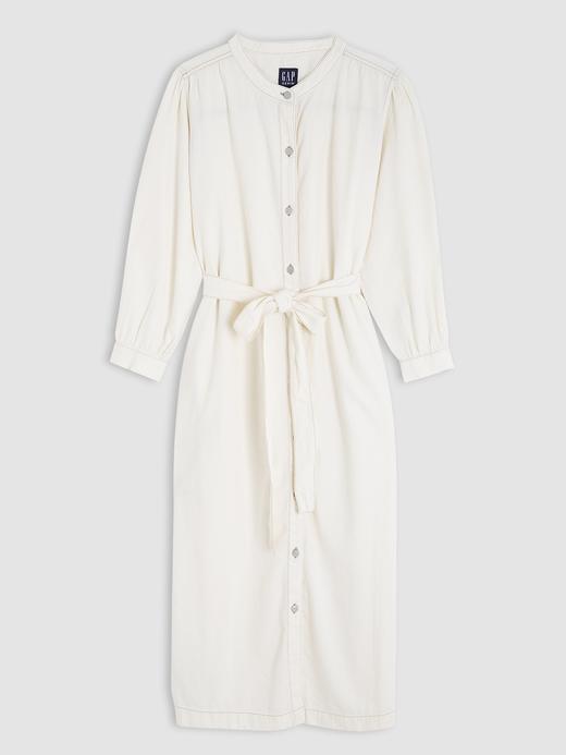 3/4 Kollu Denim Midi Gömlek Elbise