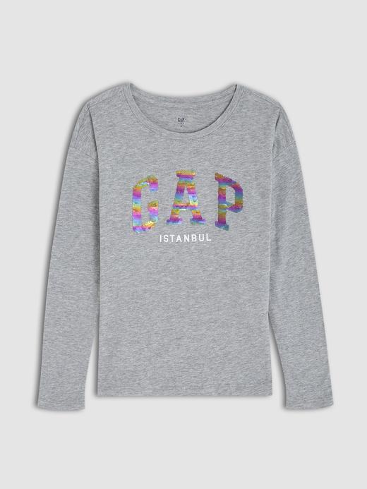 Kız Çocuk Gri Gap Logo Payetli Uzun Kollu T-Shirt