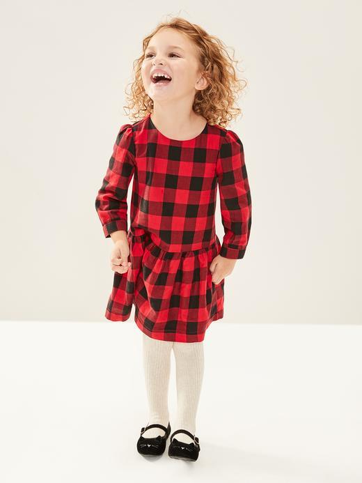 Bebek Kırmızı Ekose Desenli  Elbise