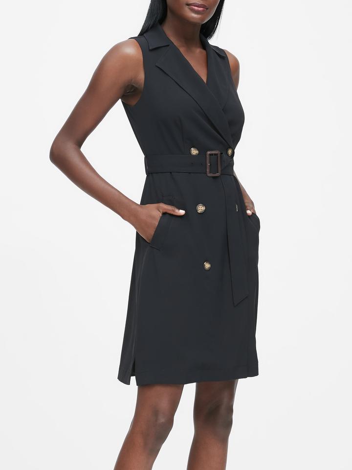 Önden Düğmeli Trenç Elbise