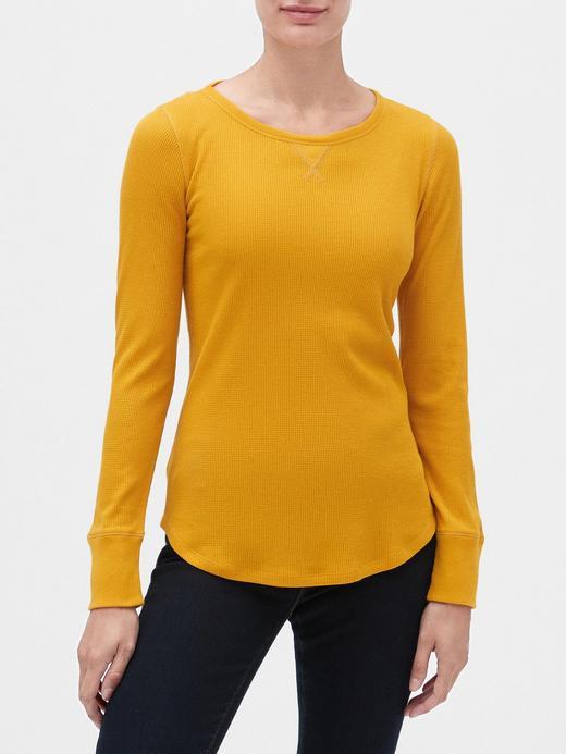 Kadın Sarı Yuvarlak Yakalı Uzun Kollu T-Shirt