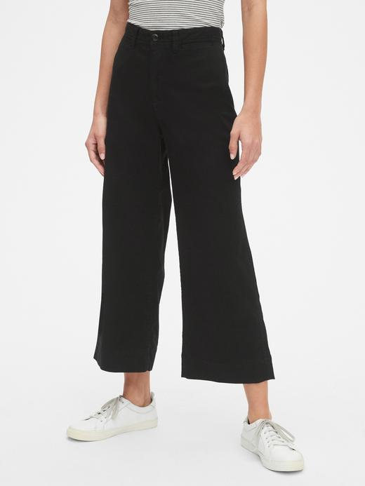 Kadın Siyah Yüksek Belli Wide Leg Chino Pantolon