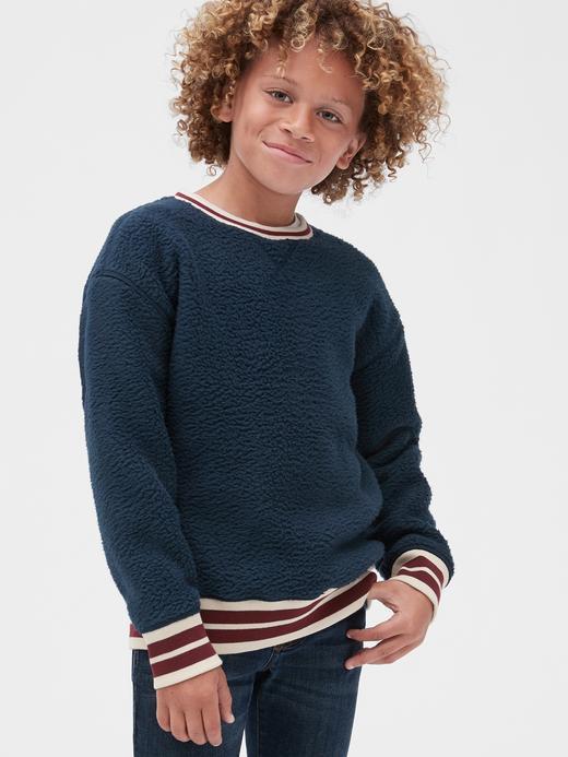 Erkek Çocuk Lacivert Sherpa Yuvarlak Yakalı Sweatshirt