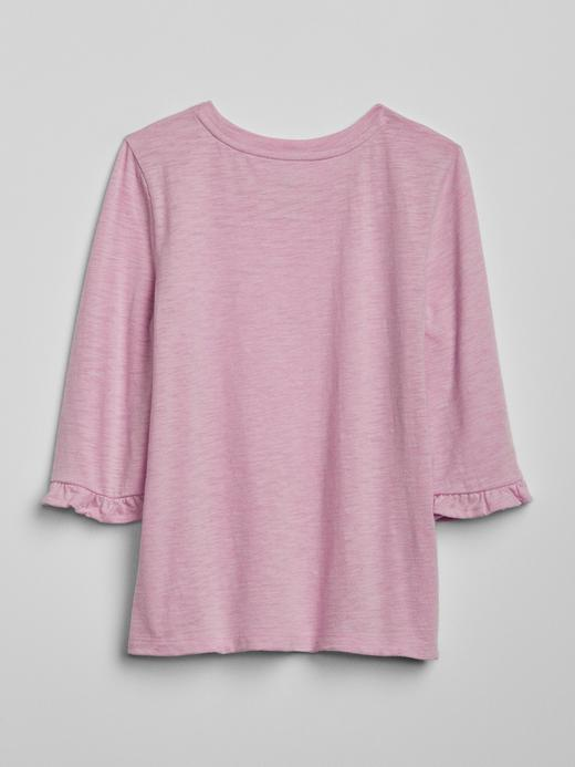 Kız Çocuk Bej Grafik Fırfırlı Uzun Kollu T-Shirt
