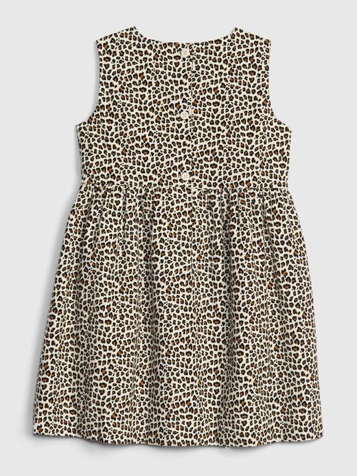 Kız Bebek Bej Kolsuz Desenli Elbise
