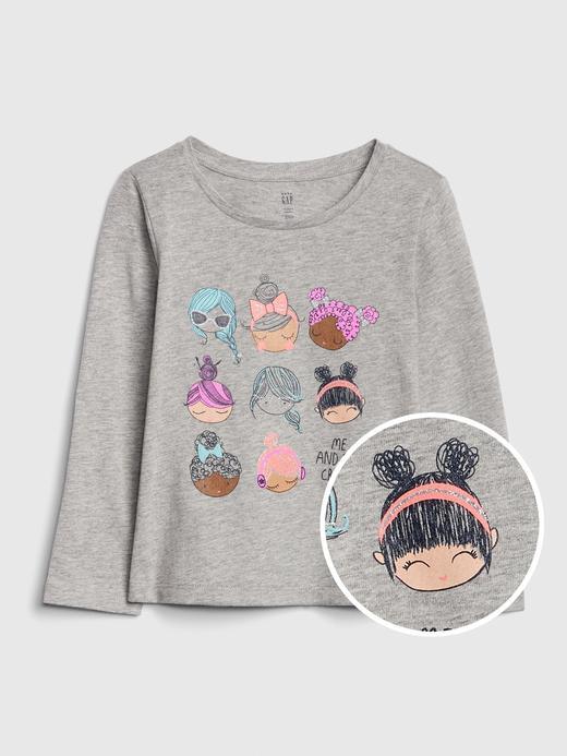 Kız Bebek Gri Grafik Uzun Kollu T-Shirt