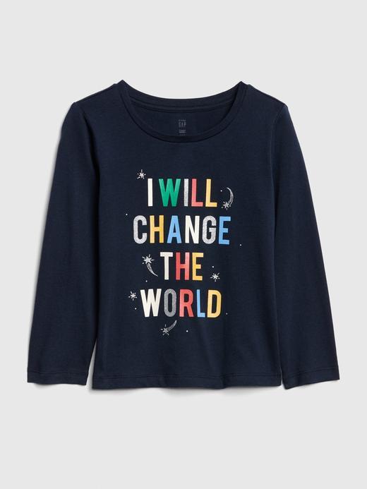 Kız Bebek Lacivert Grafik Uzun Kollu T-Shirt