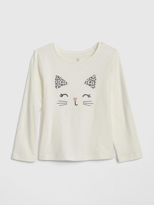 Kız Bebek Bej Grafik Uzun Kollu T-Shirt