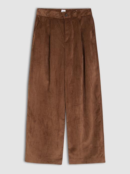 Kadın Kahverengi Wide Leg Kadife Pantolon