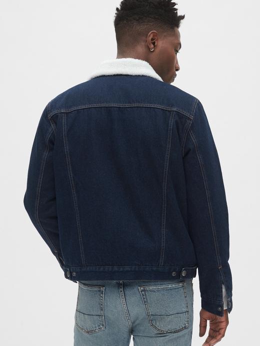 Erkek koyu lacivert Sherpa-Lined Icon Denim Ceket